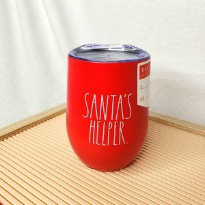 Rae Dunn Santa's Helper Wine Glass Tumbler Red